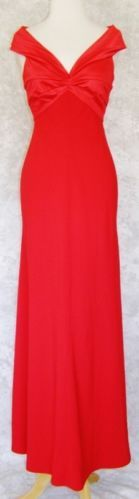 TADASHI Long Red Empire Waist Gown Dress 6 Stretch Top Holiday Evening Formal