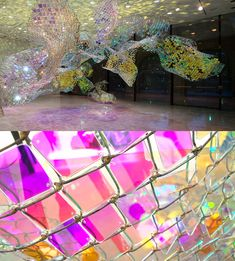 Unwoven Light' is a giant suspended chain-link fence installation at Rice Gallery by Soo Sunny Park. More views at the link: http://www.thisiscolossal.com/2013/05/shimmering-chain-link-fence-installation-by-soo-sunny-park