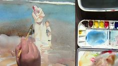 Watercolor Painting of Mother and Children Beach Scene, part 1