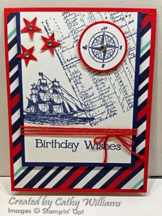 Inking It Up With Cathy Male birthday card using The Open Sea by Stampin' Up!