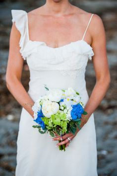 blue + white bridal bouquet - Maine Wedding from Emilie Inc. Photography