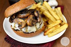 Swiss Pan Burgers with Rosemary-Mushroom Pan Sauce is an easy yet elegant 20 minute meal made in just one skillet. #glutenfree | iowagirleats.com