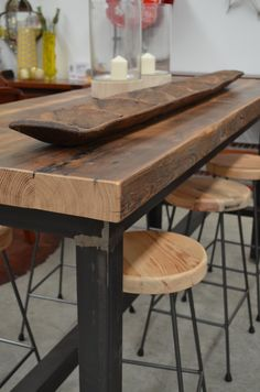 Industrial bar table and stools....the perfect furnishings for indoor and outdoor entertaining. The General Store, Osborne Park