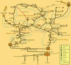 Huangshan Trekking Map __ Maps of Huangshan Mountain - Mt. Huangshan - Huangshan Gallery - Huangshan Tour
