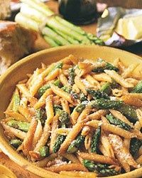 Penne with Roasted Asparagus and Balsamic Butter. 1 pound asparagus 1 tablespoon olive oil 2 teaspoons salt 1/2 teaspoon fresh-ground black pepper 1/2 cup plus 2 tablespoons balsamic vinegar 1/2 teaspoon brown sugar 1 pound penne 1/4 pound butter, cut into pieces 1/3 cup grated Parmesan cheese, plus more for serving Heat the oven to 400
