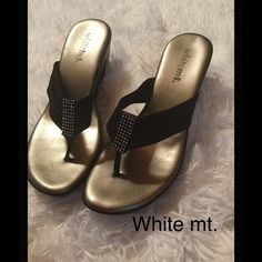 "White mt. wedge thong sandal. Really nice thong sandal with ""bling""....only worn once, in perfect condition. 2 1/2 inch back wedge. Shoes Sandals"