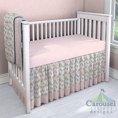 Nursery Bedding Custom Made using Pink Circles, Love Birds, Solid Mist, Solid Pink. #carouseldesigns