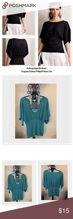 🌟NWOT🌟 Anthropologie Bordeaux Dolman Tee - Teal. New condition -- ordered online and never wore.  I ordered this just before gaining weight. Pullover styling. It is really cute and can be pulled down or ruched at the waist. I was a small but was carrying my weight in my tummy so I got a medium as the waist is stretchy but fitted. It is VERY highly rated on the site. Check out the reviews. Hand wash. Anthropologie Tops Blouses