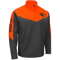 Oregon State Beavers Colosseum Top Gun Quarter-Zip Pullover Jacket - Charcoal/Orange