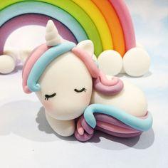 Special Edition Sleepy Baby Unicorn Magical Pony Pastel Rainbow Fondant Cake Topper Set Quantity - 2 Design - 3D Sleeping Baby Unicorn, 3D Pastel Rainbow Size - Unicorn Approx. 6cm in length, Rainbow Approx. 14cm x 7cm ────────────────────────────────────────────────── 🦄 ORDER LEAD
