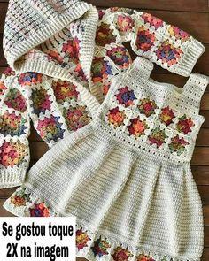 Crochet Baby Dress Pattern, Baby Dress Patterns, Baby Girl Crochet, Crochet Baby Clothes, Baby Knitting Patterns, Crochet For Kids, Cardigan Bebe, Beautiful Crochet, Crochet Designs
