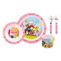 Woezel en Pip kinderservies roze 5-delig.