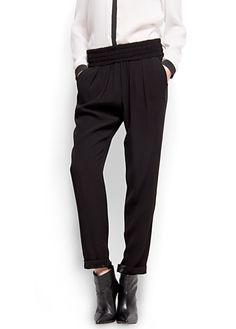 MANGO - Smocked waist trousers