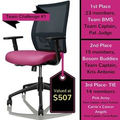 Update for Team Challenge #1: The Team Captain who recruits the MOST TEAM MEMBERS by Aug 15th will be rewarded with a custom PINKtastic office chair valued over $500!   Haven't registered your team yet? Do it today and get in on the challenge! #BraggingRights #GetGlowing  Registration is now open!