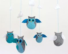 Owl Mobile / Clouds Mobile / Nursery Mobile / Blue and Gray Mobile / Crib Mobile / Felt Mobile / Nursery Room- READY FOR SHIPPING