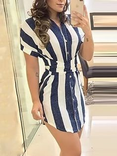 Striped Knotted Back Curve Hem Dress dresses and accessories all over the world at competitive prices, and with a high level of customer care. Maxi Shirt Dress, Bodycon Dress, Mode Outfits, Fashion Outfits, Fashion Wigs, Fashion Online, Casual Dresses, Dresses For Work, Dresses Dresses