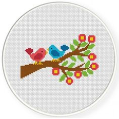 Cute Little Birds, Handmade Unframed Cross Stitch- Bird Wall Art, Minimalist Art, Birds On A Branch, Cross Stitch Beginner, Cross Stitch For Kids, Cross Stitch Love, Cross Stitch Animals, Cross Stitch Designs, Cross Stitch Patterns, Cross Stitching, Cross Stitch Embroidery, Embroidery Patterns
