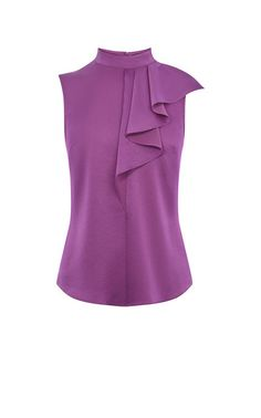Karen Millen RUFFLE NECK TOP in Purple : A ladylike separate with a playful twist: this lightweight purple top features ruffle detail at the neckline and dipped hemlines.Karen Millen is a London-based fashion house specialising in women's fashion. Karen Millen, Blouse Styles, Blouse Designs, African Clothing For Sale, Modest Fashion, Fashion Outfits, Vetement Fashion, Blouse Outfit, Trendy Tops