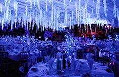 I am so going to have to have a Fire and Ice party one day! Can't you see it? Ice scuptures white linens, blood red roses, crystals, and the dress code - formal in redwhite?