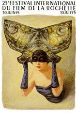 """illustration française : Stanislas Bouvier, affiche, """"festival international du film de La Rochelle, 1995"""", femme, masque, papillon"""