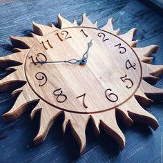 Clocks – Decor: Handmade home watch. Fair Master … – Clock World Diy Clock, Clock Decor, Diy Wall Decor, Wall Clock Wooden, Wooden Art, Pallet Clock, Handmade Clocks, Handmade Wooden, Cool Clocks