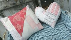 Heart and cushion made from lovely faded quilt