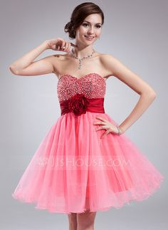 Homecoming Dresses - $106.99 - Empire Sweetheart Knee-Length Taffeta Organza Tulle Homecoming Dress With Ruffle Sash Beading Flower(s) Sequins (022018663) http://jjshouse.com/Empire-Sweetheart-Knee-Length-Taffeta-Organza-Tulle-Homecoming-Dress-With-Ruffle-Sash-Beading-Flower-S-Sequins-022018663-g18663