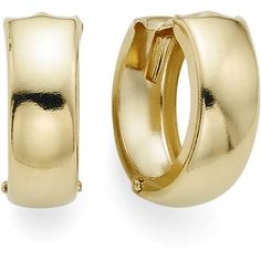 14K Yellow Gold 12.5mm Hinged Huggie Hoop Earrings ($187) ❤ liked on Polyvore featuring jewelry and earrings
