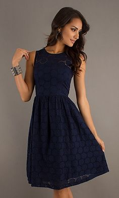 Navy Blue Lace Bridesmaid Dresses | Navy Lace Knee Length Dress | My Style