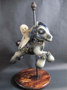 """My Little Pony Custom Toy - """"Goodnight, Sweet Dreams...XO""""  By J-ryu Jess.   This piece was created using polymer clay, epoxy, metal, wood and painted with acrylics. The Mon Petit La Mort ghost girl is removable and sits in place with the use of hidden magnets."""