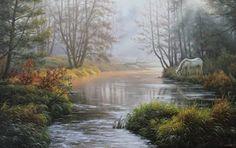 Cuadros Modernos Pinturas y Dibujos : Cuadros fantásticos de paisajes naturales del campo con bruma