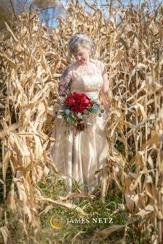 Fall Inspirational Wedding Shoot of Bride in Cornfield - Image by JNP