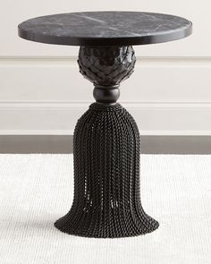 Kay Noir Marble Tassel Table