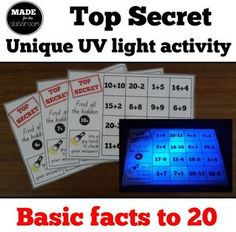 Top Secret - UV light activity, addition and subtraction facts to 20 Math 2, Math Concepts, Addition And Subtraction, School Holidays, Math Lessons, Stage, Classroom, Facts, Student