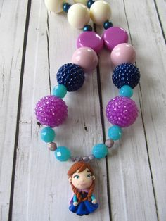 Princess Anna Frozen necklace chunky necklace, Frozen birthday party by PaigeandPenelope, $38.00