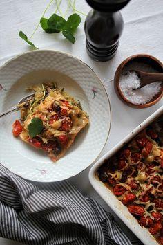 Vegetarisk lasagne med tomat låg & gorgonzola