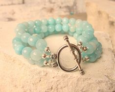 Amazonite Beaded Bracelet.Aqua Chunky Amazonite Bracelet.Four Strand Toggle Bracelet. Amazonite Jewelry. Chunky Jewelry. Bridesmaids Jewelry