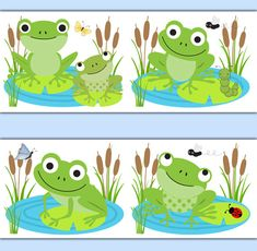 FROG WALLPAPER BORDER Decal Wall Art Pond Woodland Animal Nursery Sticker Decor Girl Boy Kids Gender Neutral Room Lily Pad Ladybug Butterfly #decampstudios