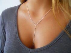 Delicate Silver Y necklace Silver Lariat Necklace by annikabella
