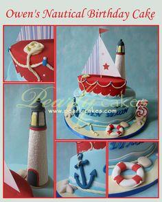 Nautical Birthday Cake by Pearlycakes.com
