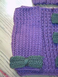 Purple and green wrist warmers I crocheted for Shelley's daughter for Christmas.