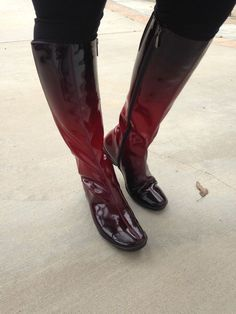 Aquatalia by Marvin K Wasabi 3 Berry Red Patent Leather Rain Boots Women Size 8 #Aquatalia #Rainboots