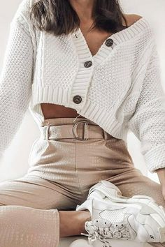 Cropped Pullover, Cropped Cardigan Sweater, Cropped Tops, Long Sleeve Sweater, Long Sleeve Outfits, Sweater Coats, Teen Fashion Outfits, Mode Outfits, Look Fashion
