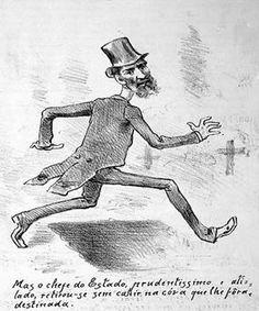 Caricatura de Prudente de Morais publicada na Revista Dom Quixote nº35 de 1895 satirizando as ameaças com as quais o presidente convivia