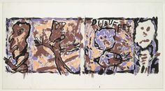 "Jean Dubuffet. Design for dust jacket for The Work of Jean Dubuffet. (1961). Gouache on paper. 9 5/8 x 27 1/8"" (24.5 x 68.9 cm). Gift of the artist. 117.1962. © 2016 Artists Rights Society (ARS), New York / ADAGP, Paris. Drawings and Prints"