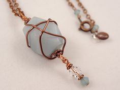 Tried some wire wrapping here. Do you think it turned out OK?....  Amazonite Stone Bead Pendant Copper Wire Wrapped by LuvAlisa, $27.00
