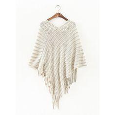 2016 Women's New Fashion Oblique Stripe Tassels Wraps Cape Sweater Knitwear wholesale free shipping