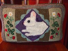 Bunny pillow primitive hooked and designed by Leslie Cervenka