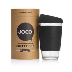 Joco 16 Ounces Black Glass Coffee Cup: The JOCO cup is a ridiculously stylish and smart solution to enjoying your everyday brew without beating up your taste buds or Mother Nature. Every JOCO glass cup is microwave and dishwasher safe, free of chemical nasties and modelled after standard disposable cup sizes.
