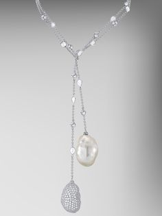 From the Bespoke Collection by Paolo Costagli, Baroque Pearl and Baroque Diamond Pave Pendant set on an 18kt White Gold Chain with Rosecut Diamonds and Diamond Rondelles.